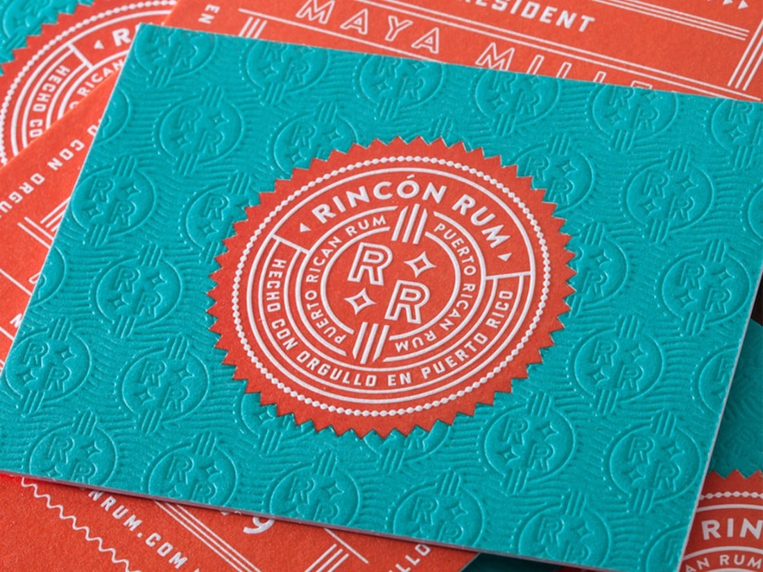 Rincon Rum Letterpress Business Card