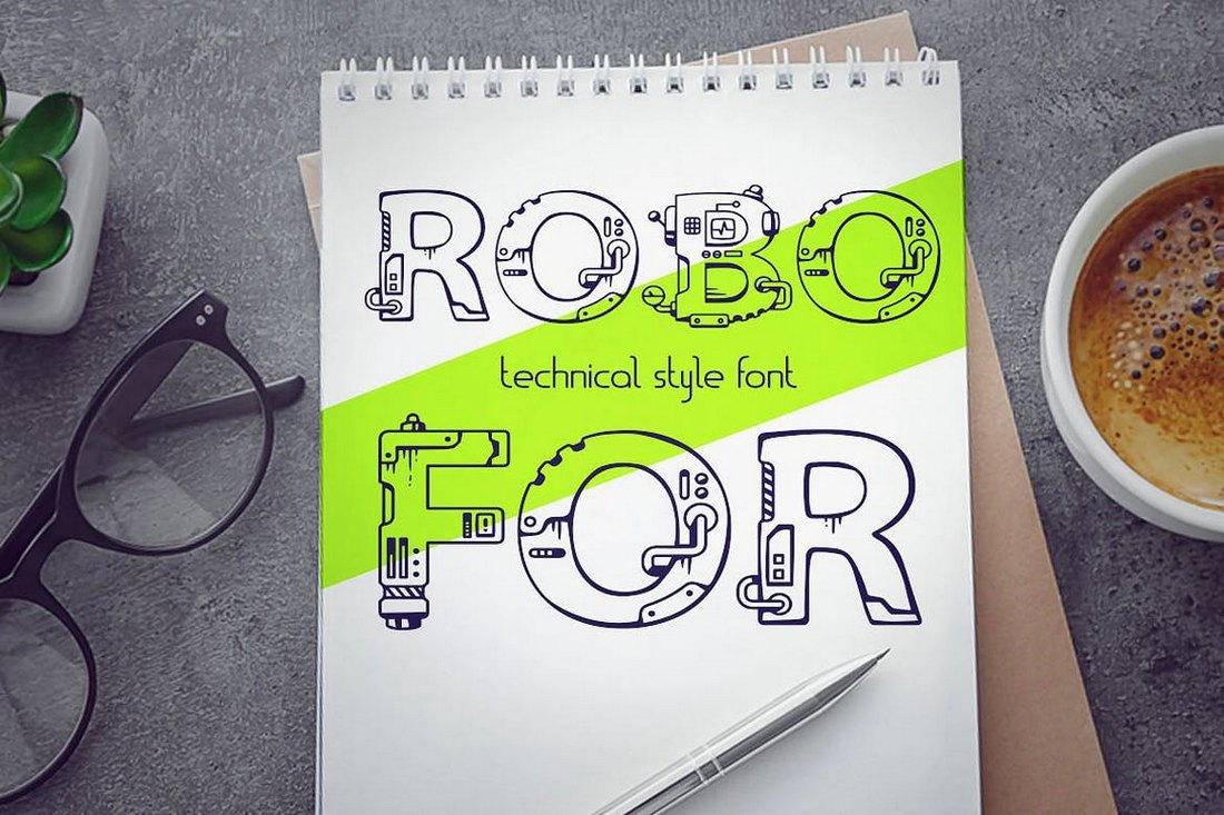 Robofor – Mechanical Engineering Font