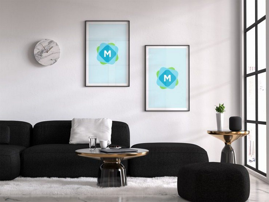 Living Room Poster Mockup PSD