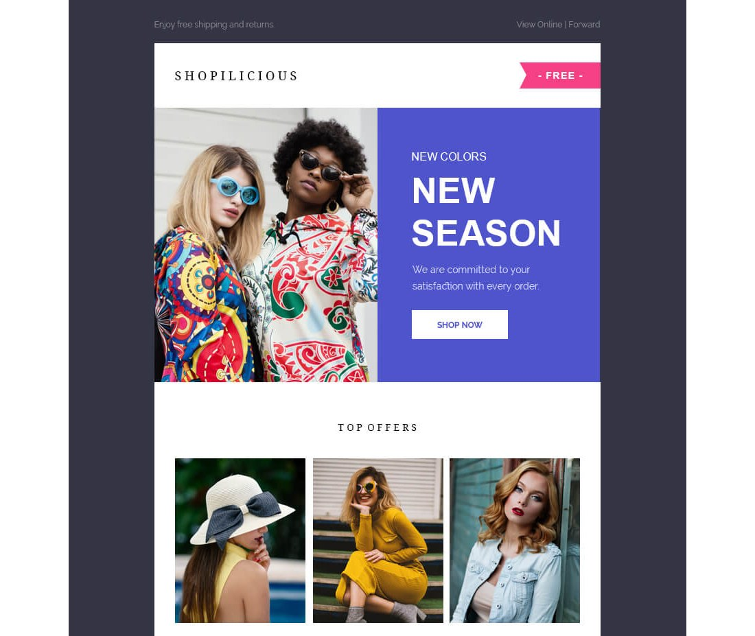 Shopilicious – Free HTML Email Template
