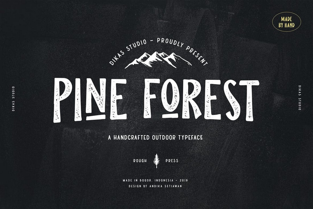 Pine Forest – Handcrafted T-Shirt Font