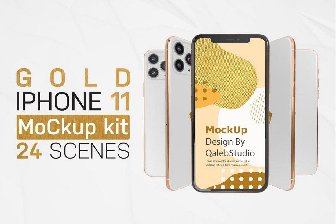 Gold & White iPhone 11 Mockup Kit