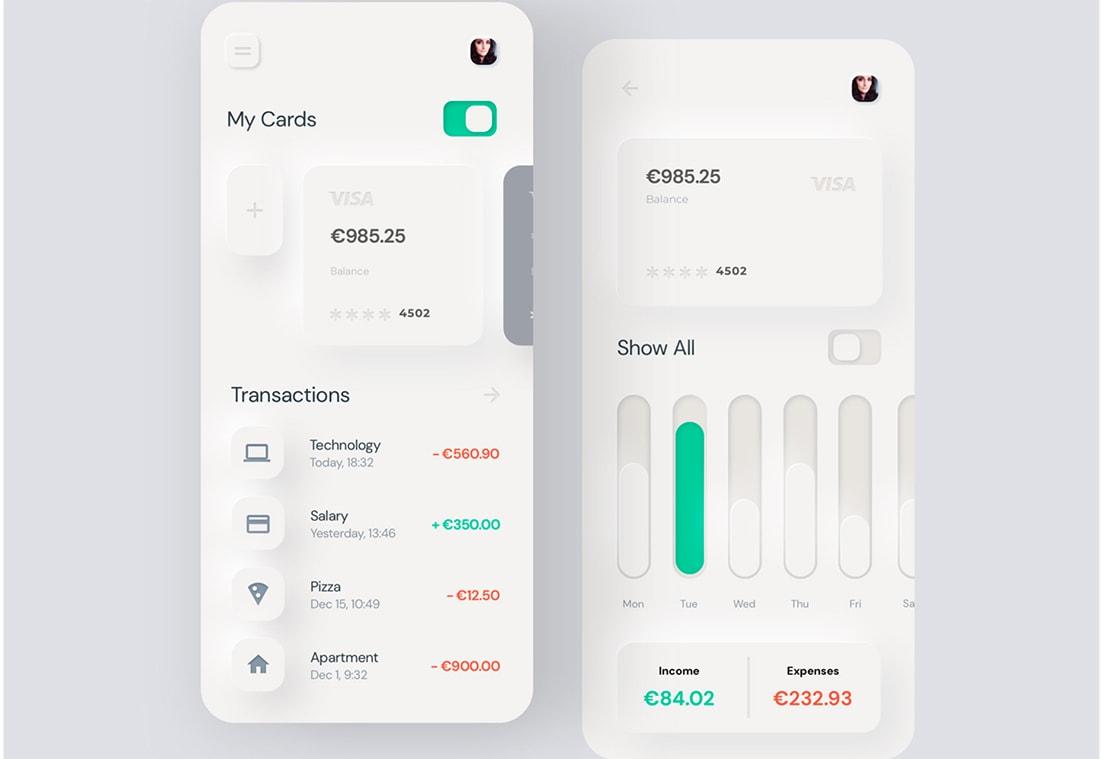 Neumorphism Mobile Banking